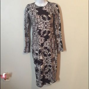 Asos Black & White Patterned Fitted Dress SZ 0